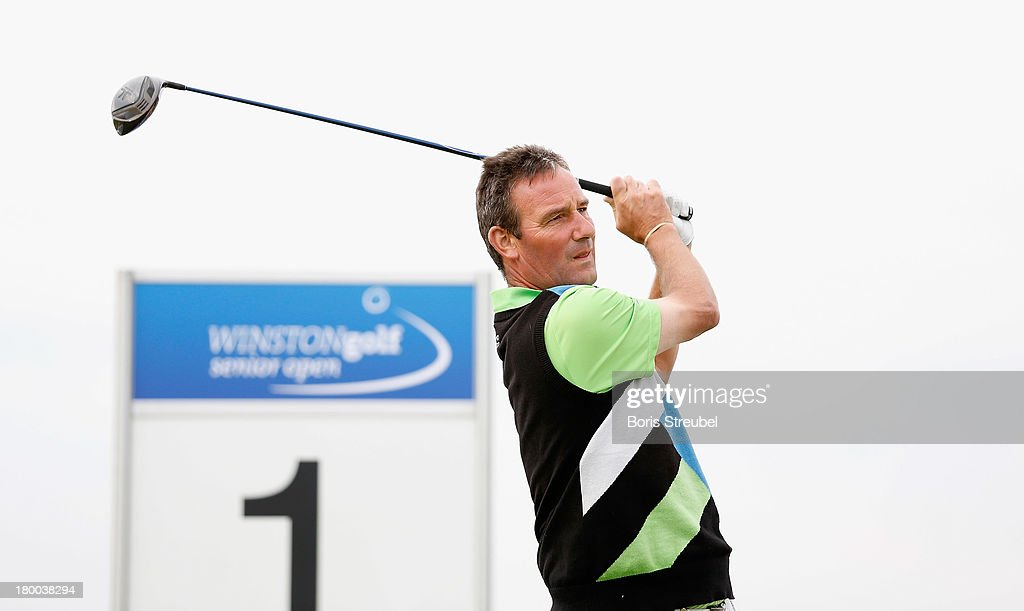Paul Wesselingh of England hits a drive from the first tee during the final round on day three of the WINSTONgolf Senior Open played at WINSTONgolf on September 8, 2013 in Schwerin, Germany.
