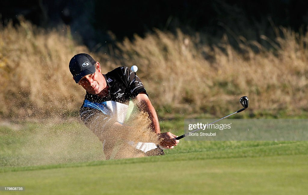 Paul Wesselingh of England hits from a bunker during the second round on day two of the WINSTONgolf Senior Open played at WINSTONgolf on September 7, 2013 in Schwerin, Germany.