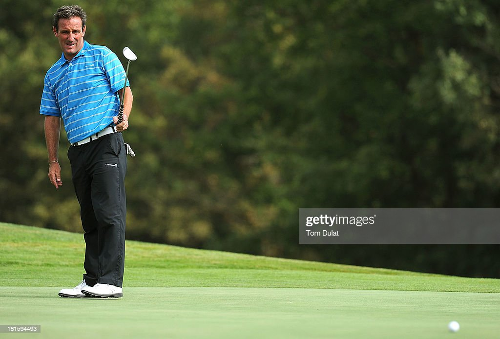 Paul Wesselingh of England lines up a putt during the final round of the French Riviera Masters played over the Chateau Course, Terre Blanche Resort on September 22, 2013 in Provencheres-sur-Fave, France.