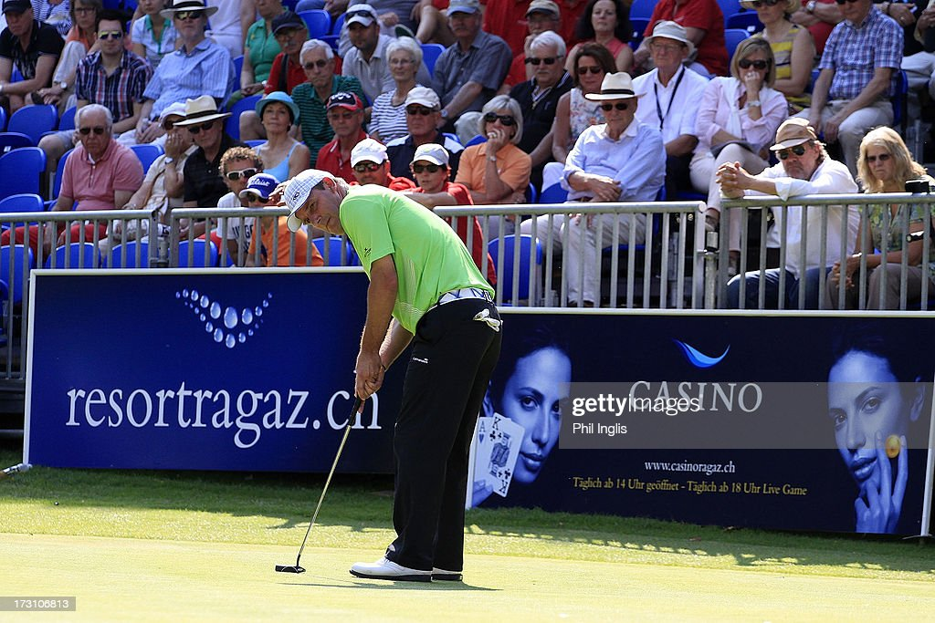 Paul Wesselingh of England putts during the final round of the Bad Ragaz PGA Seniors Open played at Golf Club Bad Ragaz on July 7, 2013 in Bad Ragaz, Switzerland.