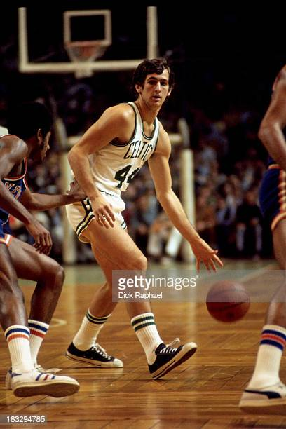 Paul Westphal of the Boston Celtics dribbles the ball against the New York Knicks circa 1973 at the Boston Garden in Boston Massachusetts NOTE TO...