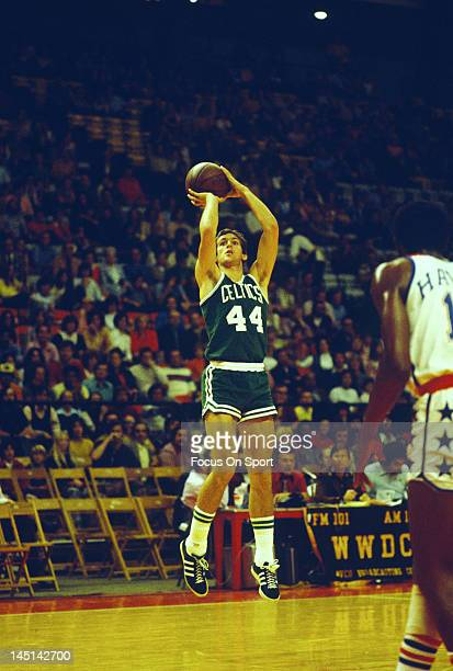Paul Westphal of the Boston Celtics shoot against the Washington Bullets during an NBA basketball game circa 1975 at the Capital Centre in Landover...