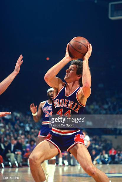 Paul Westphal of the Phoenix Suns in action against the Washington Bullets during an NBA basketball game circa 1977 at the Capital Centre in Landover...