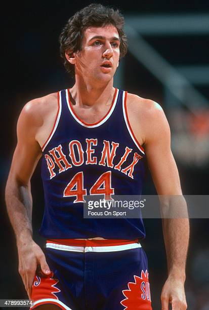 Paul Westphal of the Phoenix Suns looks on against the Washington Bullets during an NBA basketball game circa 1978 at the Capital Centre in Landover...