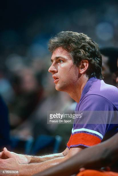 Paul Westphal of the Phoenix Suns looks on from the bench against the Washington Bullets during an NBA basketball game circa 1978 at the Capital...