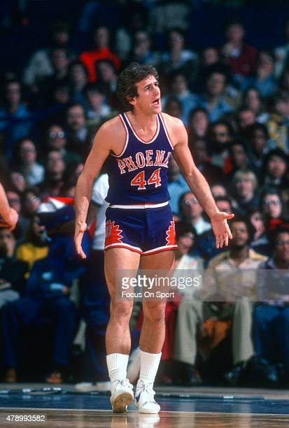 Paul Westphal of the Phoenix Suns reacts to a call against the Washington Bullets during an NBA basketball game circa 1978 at the Capital Centre in...