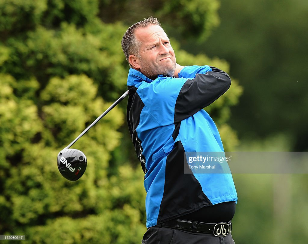 Paul Wilby of Haverhill Golf Club on the 1st tee during The Golfplan Insurance Pro Captain Challenge - Regional Qualifier at John O'Gaunt Golf Club on July 31, 2013 in Bedford, England.