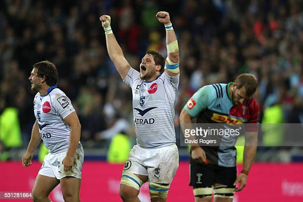 Paul Willemse of Montpellier celebrates victory as the final whistle blows during the European Rugby Challenge Cup Final match between Harlequins and...
