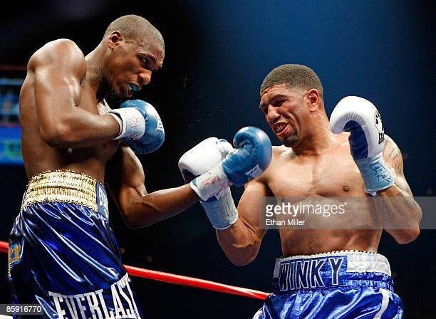 Paul Williams and Winky Wright trade blows in the fourth round of their middleweight bout at the Mandalay Bay Events Center April 11 2009 in Las...