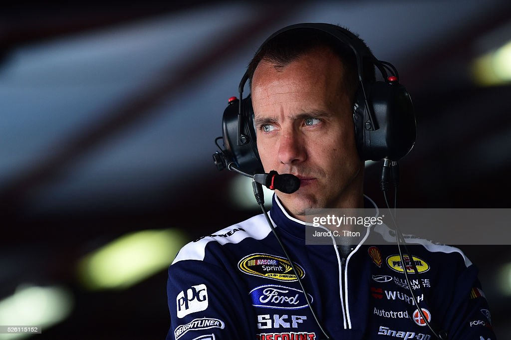 <a gi-track='captionPersonalityLinkClicked' href=/galleries/search?phrase=Paul+Wolfe&family=editorial&specificpeople=2257776 ng-click='$event.stopPropagation()'>Paul Wolfe</a>, crew chief for Brad Keselowski, driver of the #2 Miller Lite Ford, stands in the garage area during practice for the NASCAR Sprint Cup Series GEICO 500 at Talladega Superspeedway on April 29, 2016 in Talladega, Alabama.