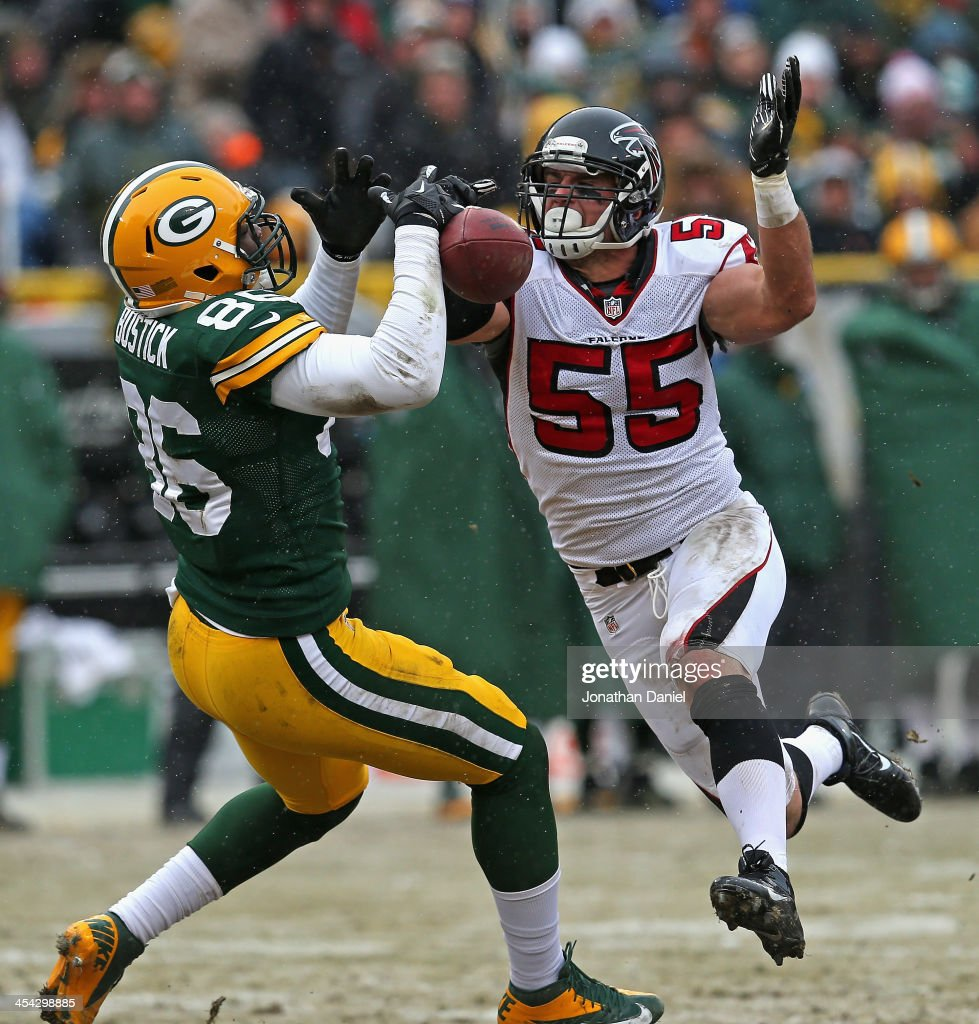 <a gi-track='captionPersonalityLinkClicked' href=/galleries/search?phrase=Paul+Worrilow&family=editorial&specificpeople=11252431 ng-click='$event.stopPropagation()'>Paul Worrilow</a> #55 of the Atlanta Falcons breaks up a pass intended for <a gi-track='captionPersonalityLinkClicked' href=/galleries/search?phrase=Brandon+Bostick&family=editorial&specificpeople=9685284 ng-click='$event.stopPropagation()'>Brandon Bostick</a> #86 of the Green Bay Packers at Lambeau Field on December 8, 2013 in Green Bay, Wisconsin.