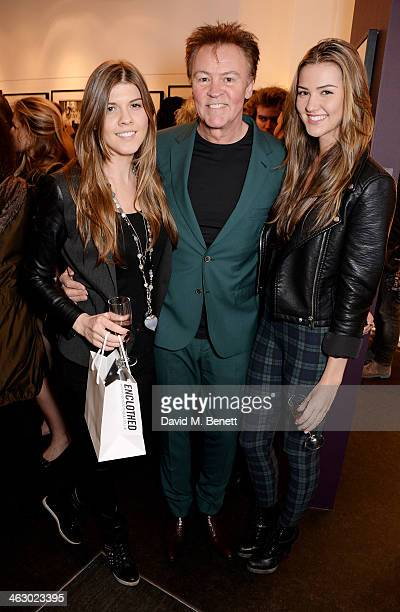 Paul Young with daughters Levi and Layla attend a private view of 'The Best Of Terry O'Neill' exhibition at The Little Black Gallery on January 16...