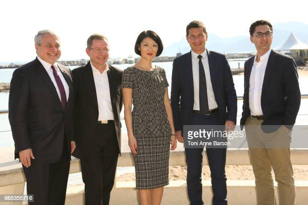 Paul Zilk Reed Midem CEO Benoit Louvet Fleur Pellerin David Lisnard Cannes Mayor and Maxime Saada Canal CEO attend photocall for MIPTV 2017 Opening...