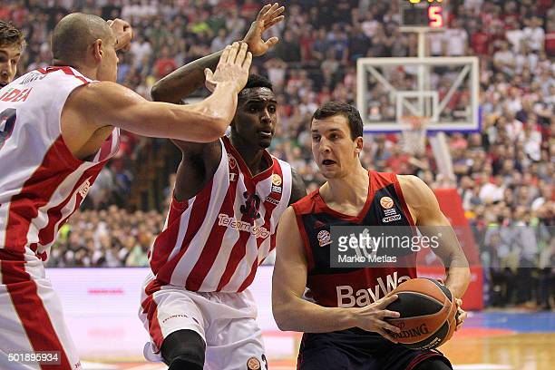 Paul Zipser #16 of FC Bayern Munich competes with Quincy Miller #30 of Crvena Zvezda Telekom Belgrade during the Turkish Airlines Euroleague...