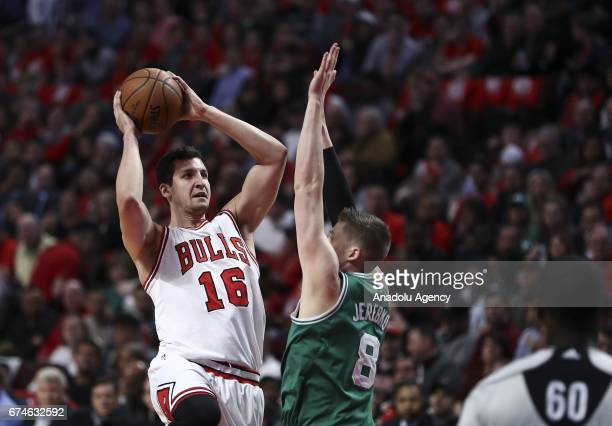 Paul Zipser of Chicago Bulls in action during the 2017 NBA Playoffs between Boston Celtics and Chicago Bulls at the United Center on April 28 2017 in...