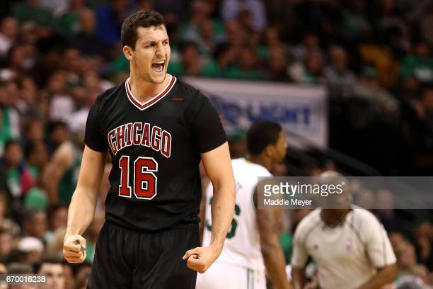 Paul Zipser of the Chicago Bulls celebrates after scoring against the Boston Celtics during the third quarter of Game Two of the Eastern Conference...