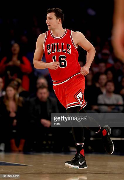 Paul Zipser of the Chicago Bulls celebrates his basket in the first quarter against the New York Knicks at Madison Square Garden on January 12 2017...