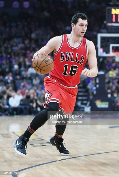 Paul Zipser of the Chicago Bulls dribbles the ball against the Sacramento Kings during an NBA basketball game at Golden 1 Center on February 6 2017...
