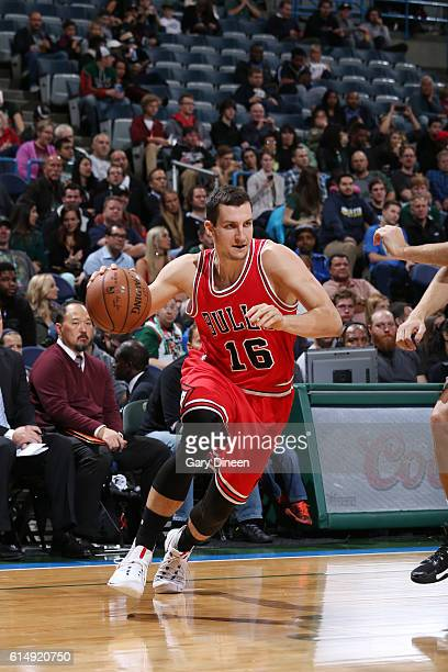 Paul Zipser of the Chicago Bulls drives to the basket against the Milwaukee Bucks on October 15 2016 at the BMO Harris Bradley Center in Milwaukee...