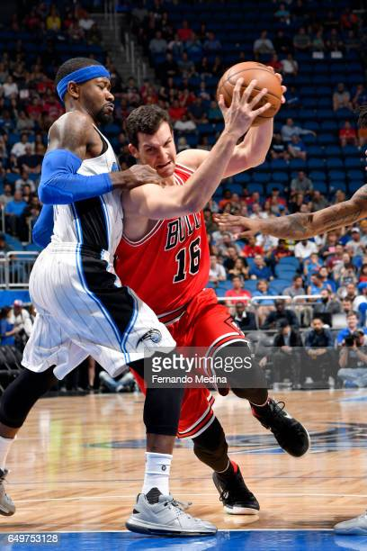 Paul Zipser of the Chicago Bulls goes to the basket against the Orlando Magic on March 8 2017 at Amway Center in Orlando Florida NOTE TO USER User...