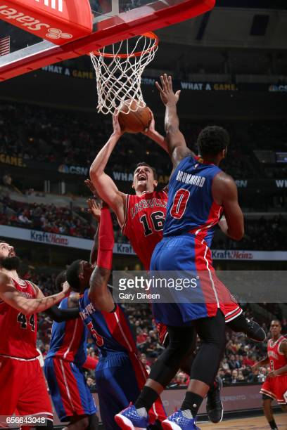 Paul Zipser of the Chicago Bulls goes to the basket against the Detroit Pistons on March 22 2017 at the United Center in Chicago Illinois NOTE TO...