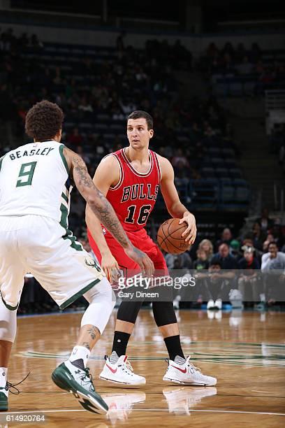 Paul Zipser of the Chicago Bulls handles the ball against the Milwaukee Bucks on October 15 2016 at the BMO Harris Bradley Center in Milwaukee...