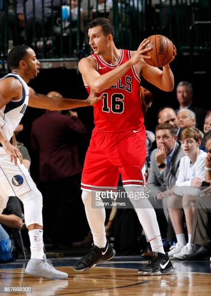 Paul Zipser of the Chicago Bulls handles the ball against the Dallas Mavericks on October 4 2017 at the American Airlines Center in Dallas Texas NOTE...