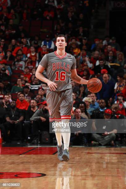 Paul Zipser of the Chicago Bulls handles the ball during a game against the Cleveland Cavaliers on March 30 2017 at the United Center in Chicago...