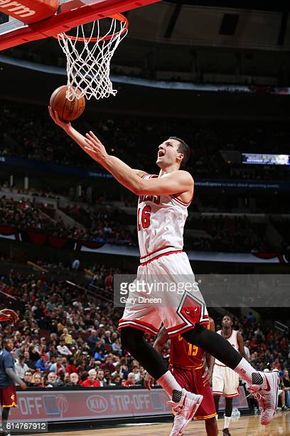 Paul Zipser of the Chicago Bulls shoots a lay up against the Cleveland Cavaliers on October 14 2016 at the United Center in Chicago Illinois NOTE TO...