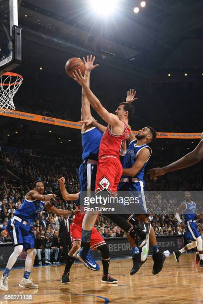 Paul Zipser of the Chicago Bulls shoots a lay up against the Toronto Raptors during the game on March 21 2017 at the Air Canada Centre in Toronto...