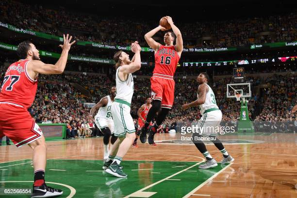 Paul Zipser of the Chicago Bulls shoots the ball against the Boston Celtics during the game on March 12 2017 at the TD Garden in Boston Massachusetts...