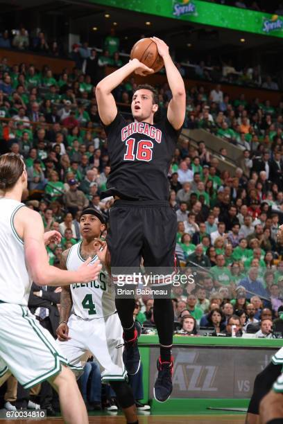 Paul Zipser of the Chicago Bulls shoots the ball against the Boston Celtics during Game Two of the Eastern Conference Quarterfinals of the 2017 NBA...