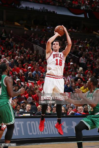Paul Zipser of the Chicago Bulls shoots the ball against the Boston Celtics in Game Six of the Eastern Conference Quartefinals of the 2017 NBA...