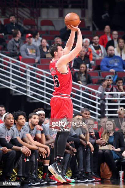 Paul Zipser of the Chicago Bulls shoots the ball against the Detroit Pistons on March 22 2017 at the United Center in Chicago Illinois NOTE TO USER...