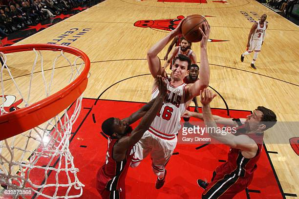 Paul Zipser of the Chicago Bulls shoots the ball against the Miami Heat on January 27 2017 at the United Center in Chicago Illinois NOTE TO USER User...