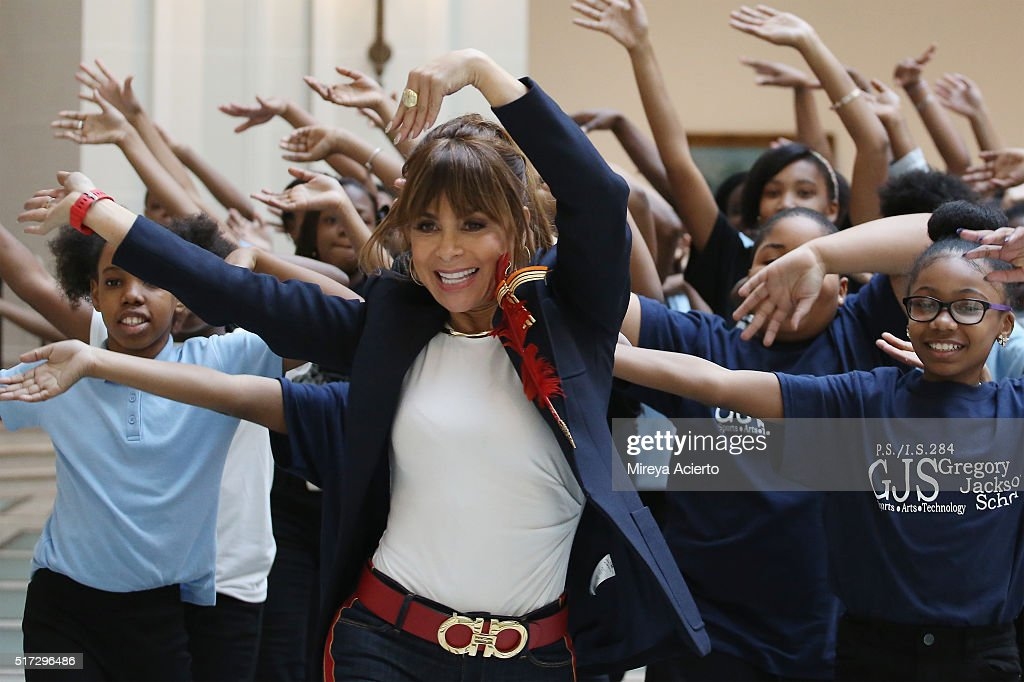 Paula Abdul dances with students from Brooklynbased Turnaround Arts schools at the Brooklyn Museum on March 23 2016 in New York City Abdul is a...