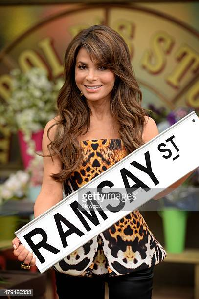 Paula Abdul poses during a photo shoot on the set of Australian television soap opera 'Neighbours' where she will appear in a cameo role on March 17...