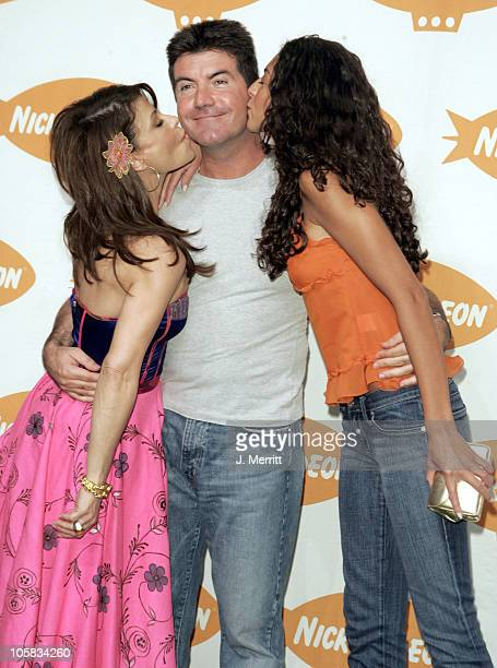 Paula Abdul Simon Cowell and Terri Seymour during Nickelodeon's 18th Annual Kids Choice Awards Press Room at Pauley Pavillion in Los Angeles...