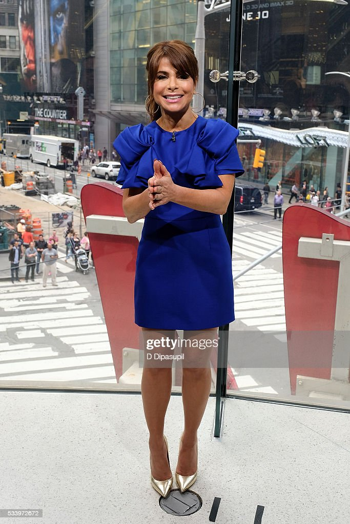 <a gi-track='captionPersonalityLinkClicked' href=/galleries/search?phrase=Paula+Abdul&family=editorial&specificpeople=202119 ng-click='$event.stopPropagation()'>Paula Abdul</a> visits 'Extra' at their New York studios at H&M in Times Square on May 24, 2016 in New York City.