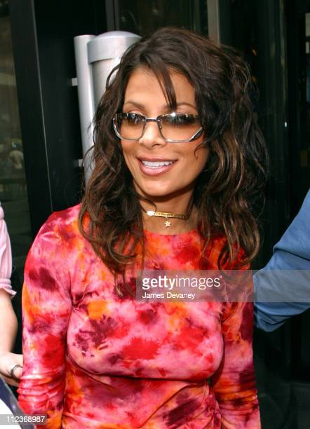 Paula Abdul wearing Gucci 1691S sunglasses during Paula Abdul Promotes Safilo Eyewear at MTV's 'TRL' August 12 2002 at Times Square in New York City...