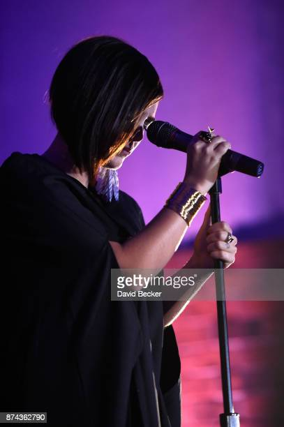Paula Arenas performs at the CPI Event during the 18th annual Latin Grammy Awards at the Hardwood Suite at Palms Casino Resort on November 14 2017 in...