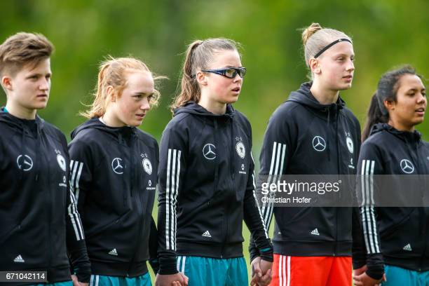 Paula Augustine Helga Klensmann Lisanne Grawe Julia Pollak goalkeeper Carlotta Pauline Nelles and Gia Corley of Germany line up during the national...
