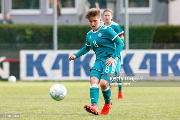 Paula Augustine Helga Klensmann of Germany controls the ball during the Under 15 girls international friendly match between Czech Republic and...