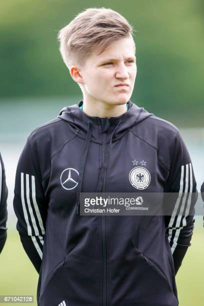 Paula Augustine Helga Klensmann of Germany is seen during the national anthem prior to the Under 15 girls international friendly match between Czech...