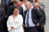 Paula Bennett and Steven Joyce look on during the National Party team photo at Parliament House on September 23 2014 in Wellington New Zealand On...
