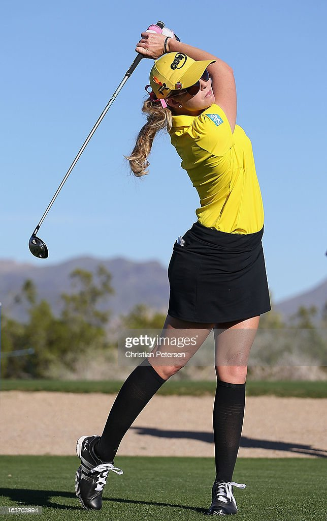 <a gi-track='captionPersonalityLinkClicked' href=/galleries/search?phrase=Paula+Creamer&family=editorial&specificpeople=209411 ng-click='$event.stopPropagation()'>Paula Creamer</a> hits a tee shot on the 16th hole during the first round of the RR Donnelley LPGA Founders Cup at Wildfire Golf Club on March 14, 2013 in Phoenix, Arizona.
