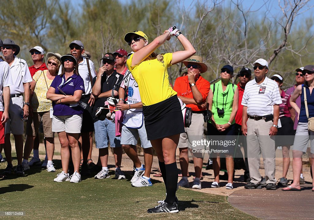 <a gi-track='captionPersonalityLinkClicked' href=/galleries/search?phrase=Paula+Creamer&family=editorial&specificpeople=209411 ng-click='$event.stopPropagation()'>Paula Creamer</a> hits her second shot on the ninth hole during the first round of the RR Donnelley LPGA Founders Cup at Wildfire Golf Club on March 14, 2013 in Phoenix, Arizona.