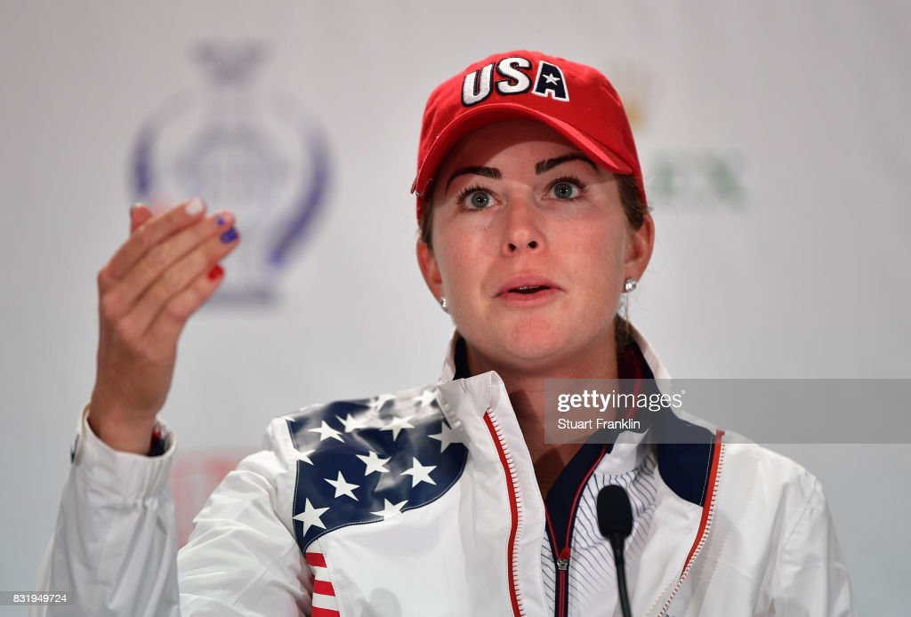 Paula Creamer of Team USA talks to the media during a press conference for The Solheim Cup at the Des Moines Country Club on August 15, 2017 in West Des Moines, Iowa.