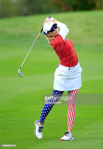 Paula Creamer of the United States plays her second shot at the 8th hole during the Friday afternoon fourball matches in the 2015 Solheim Cup at St...