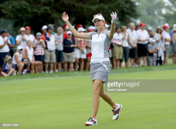 Paula Creamer of the United States Team walks down the 15th hole in her match with Austin Ernst against Melissa Reid and Emily Pedersen of the...